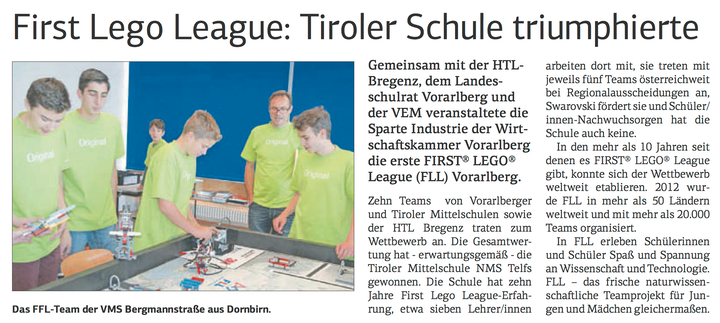FIRST LEGO League: Tiroler Schule triumphierte